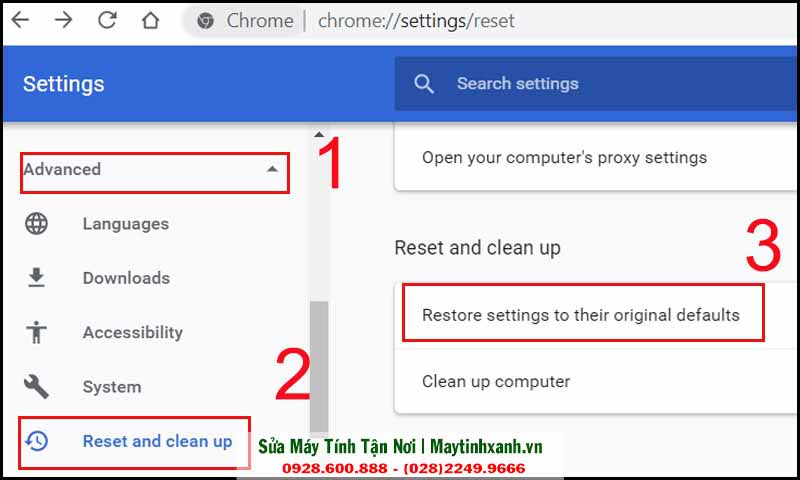 Chọn Reset and Clean up